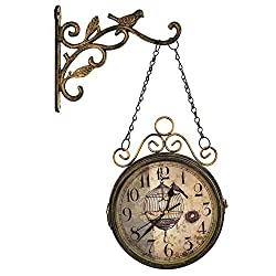 Eterfield Antique-Look Wrought Iron Wall Hanging Clock, Double Sided Two Faces Wall Clock with Bird Finial, Non-Ticking Wall Clock with Mounting Bracket for Home Décor 7-inch