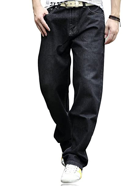 YOYEAH Mens Fashion Big Loose Relaxed Straight-Leg Jeans at ...