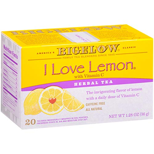 Bigelow I Love Lemon Herbal Tea Bags 20-Count Boxes (Pack of 6), 120 Tea Bags Total.  Caffeine-Free Individual Herbal Tisane Bags, for Hot Tea or Iced Tea, Drink Plain ()
