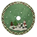 48 inch Green Christmas Tree Skirt with Snowman,Burlap Xmas Tree Skirt Holiday Decoration Ornaments