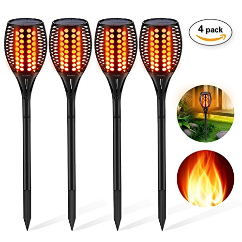 Torch Deck Light - Solar Torch Light, Aityvert Outdoor Solar Flame Light Garden Waterproof IP65 Landscape Decoration Lighting Dusk to Dawn Auto On/Off Security Lawn Light For Pathway Patio Deck Yard Driveway 4 Pack