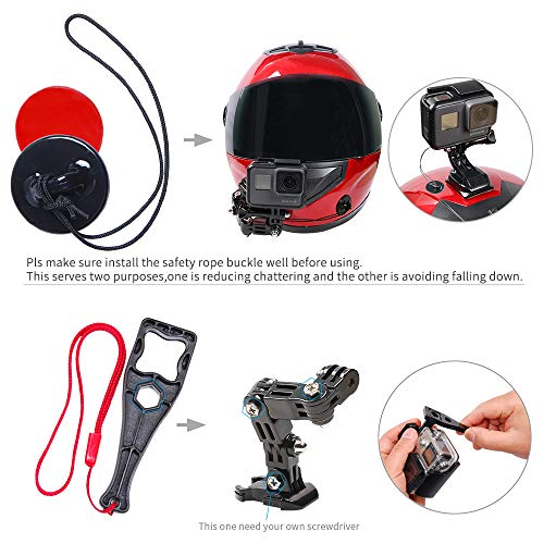 SUREWO Motorcycle Helmet Chin Mount Compatible with GoPro Hero 7/(2018)/6/5 Black,4 Session,3+,AKASO/Campark/YI Action Camera,Helmet Front and Side Swivel Mount and Adhesive Mounts with Sticky Pads