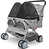 Paws & Pals Double Dog Stroller Easy Walk Folding Travel Carriage for Pets & Cats - Gray