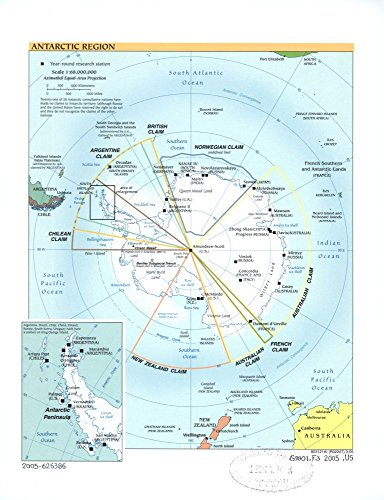 Vintage 2005 Map of Antarctic region. Antarctic Peninsula, Antarctic Penninsula, Antarctica