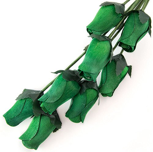 Original Zombie Costume Ideas - Dark Green Bunch of 8 Closed Bud Wooden Roses For Crafts Custom Bouquets and other DIY Projects. Choose form Over 50 Colors
