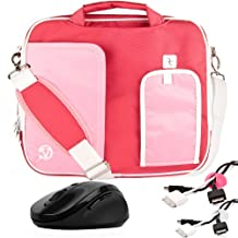 PINK TRIM BLACK Pindar Durable Water-Resistant Nylon Protective Carrying Case Messenger Shoulder Bag For Asus Eee PC 10-Inch Notebook Netbook Laptop 1001PQ / 1001PX / 1001PXD / 1015P / 1011CX / 1015CX / 1015PN / 1015T / 1025C / 1025CE / 1011PX / 1015PD / 1015PE / 1015PED / 1015PEM / 1015PX / 1016P / 1015B / 1015BX + White Cable Organizer + Pink Cable Organizer + Black Wireless Laser 2.4Ghz Mouse w/ BACK and FORWARD Buttons