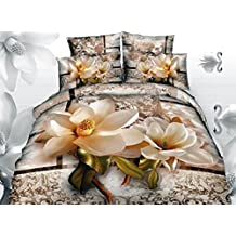 Ammybeddings Cotton Bedding Sets Queen, Luxury Bright Magnolia with Paisley Flower Print 3D Duvet Cover Sets, Floral Queen Bedding Sets 4 Pieces,No Comforter (Magnolia, Twin)