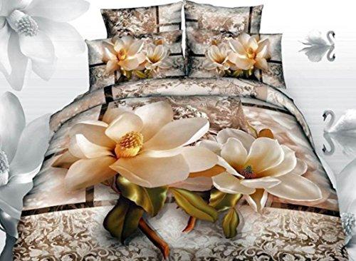 Bedding Sets Queen, Luxury Bright Magnolia with Paisley Flower Print 3D Duvet Cover Sets, Floral Queen Bedding Sets 4 Pieces,No Comforter (Magnolia, Twin) (Magnolia Comforter Set)