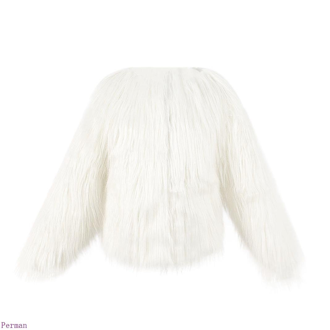 Perman Girls Winter Warm Faux Fur Long Sleeve Solid Color Short Outerwear Coat (120 = 6 year, White)