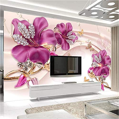 3D Decorations Wall Murals Stickers Wallpaper Pink Flower Relief Decoration Home Living Room Background Landscape Art Kids Kitchen (W)140x(H)100cm 510G-sY7UlL