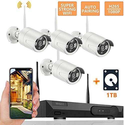 WiFi Security Camera System, 4CH NVR with 4PCS 1080P Outdoor Indoor IP Network Cameras Kit with Night Vision, IP66 Weatherproof, Motion Detection, Remote Monitoring,1TB HDD