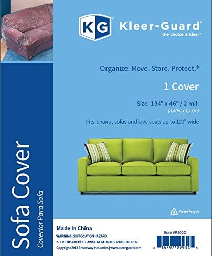 Kleer-Guard Enhanced Strength 2 MIL Sofa Cover. Help Protect Your Furniture Against Dust, Spills and Stains. Fits Sofa Up to 100