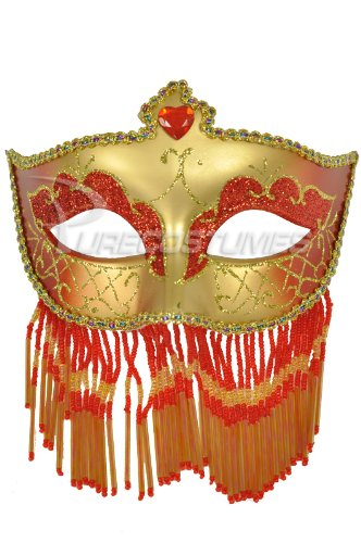Pure Seasons Soiree Spectaculaire Mask (Red/Gold)-Standard (Carnavale Costumes)