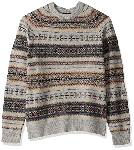J.Crew Mercantile Men's Fair Isle Lambswool-Nylon Crewneck Sweater, Heather Grey, XXL ()