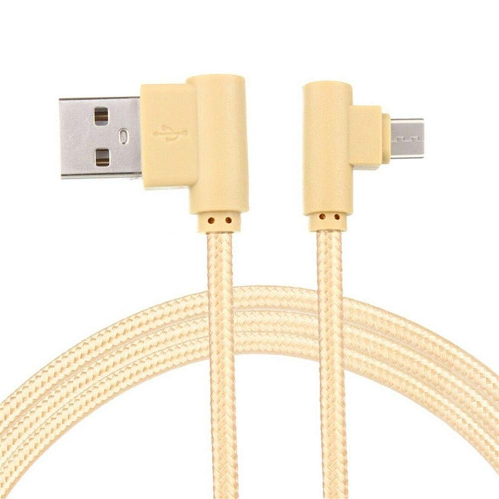 Alician Braid USB Nylon Charging Cable L Shape Line for Type-c Android Xiaomi Micro Black Android 25cm