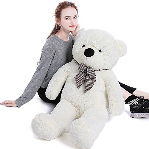 Big Teddy - 39'' Soft 100% Pp Cotton Toy Giant 100cm BIG Cute White Plush Teddy Bear Huge by Lanna Siam