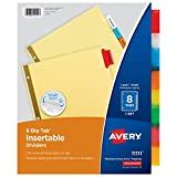 Avery Big Tab Insertable Dividers, Buff Paper, 8 Multicolor Tabs, 1 Set (11111)