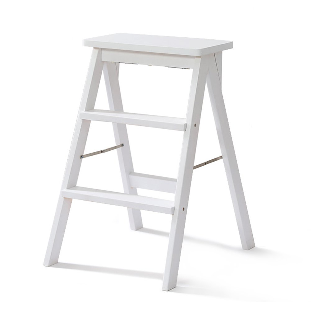 Ladder stool Folding Stool of Solid Wood Household Step Stools Multifunction Kitchen High Stool Wooden Bench 3-step of Portable (Color : White) by Ladder stool