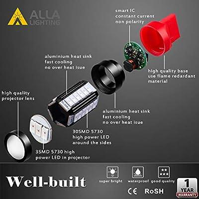 Alla Lighting T20 7440 7443 LED Flash Brake Lights Bulbs 2800 Lumens Xtreme Super Bright 12V 5730 33-SMD Car Truck Red Strobe Flashing Stop Light Replacement 7441 7444 7443LL 7440LL W21W: Automotive