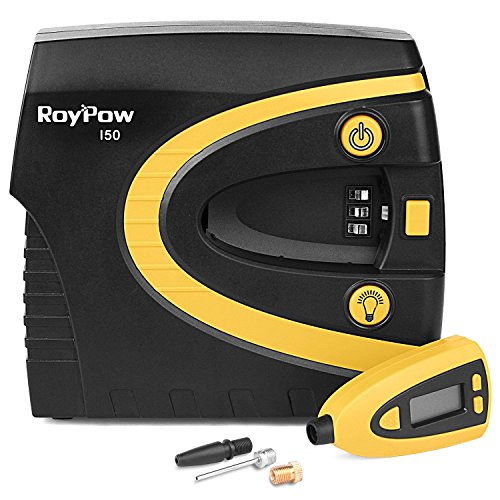 Roypow I50 12V Digital Tire Inflator Car Air Compressor 150PSI, 3 Minutes High Speed, Removable Tire Gauge & Tire Pressure Preset & SOS Flashlight