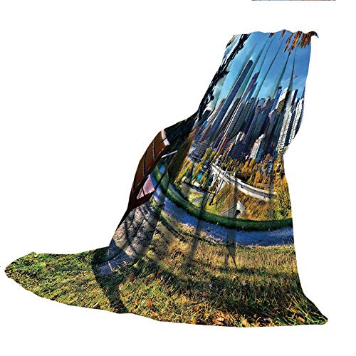 - SCOCICI Creative Flannel Printed Blanket for Warm Bedroom,City,Park Bench Overlooking The Skyline of Calgary Alberta During Autumn Tranquil Urban,Multicolor,47.25
