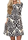 OURS Women's Casual Long Sleeve Round Neck Floral Print Tunic Shirt Dresses with Pockets (Khaki, M)