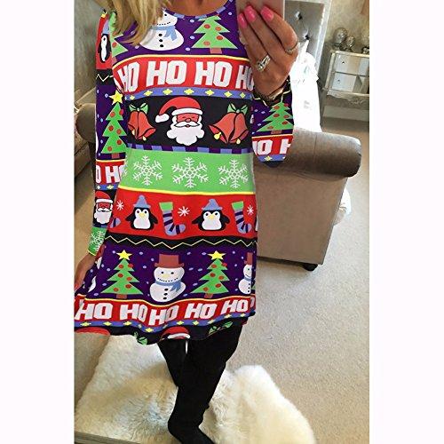 Las mujeres de las mujeres de manga larga PlusSanta de Navidad Regalos de Navidad Print Flared Swing Dress Top Azul # 3