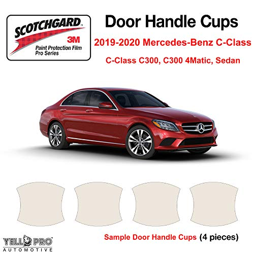 YelloPro Custom Fit Door Handle Cup 3M Scotchgard Anti Scratch Clear Bra Paint Protector Film Cover Self Healing PPF Guard Kit for 2019 2020 Mercedes Benz C Class C300, C300 4Matic, Sedan