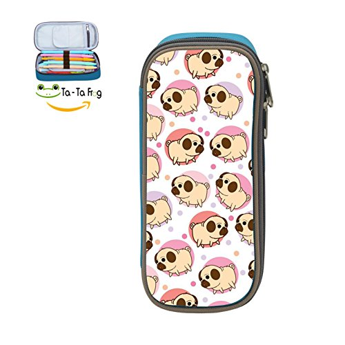 Custom Pink Pugs Pencil Case - Big Capacity Double Zipper Multifunctional blue Stationery Bag For - Aspen Sunglasses Store