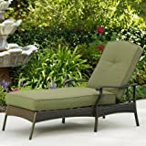 Better Homes & Gardens* Outdoor Powder-coated Steel Frame Adjustable Back Chaise Lounge in Color Green