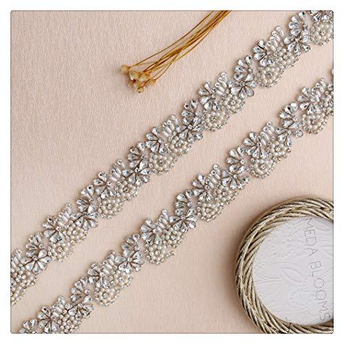 QueenDream Fashion Princess Rhinestone Applique Crystal Trim for Wedding Dress,DIY Craft Applique,Wedding Belt Silver 45cm Length (Sew Dress Princess)