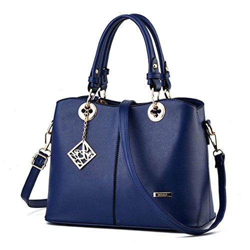 Bolso de hombro Mujer Koly Women Cremallera Handbag Hombro Pantalón Totalizador Mensajero Obrero temporal Bag Cartera Bolsos maletín Bolsos totes Mujer Bolsos bolera Azul