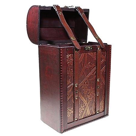 Compra CHRISTIAN GAR Caja de Madera Decorada para 2 Botellas de Vino - Caja para Regalo/Decoración (35, 5 x 21, 5 x 12, 5 cm) MH-12 en Amazon.es