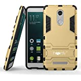 Heartly Graphic Designed Kick Stand Hard Dual Rugged Armorback Case Cover For Xiaomi Mi Redmi Note 3 - Mobile Gold