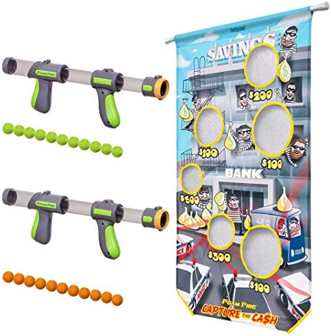 GoSports Foam Fire Games – Available in Alien Invaders and Trophy Hunt Targets or Door Hang Battle Strike and Capture the Cash Targets – Sets Include 2 Toy Blasters for Kids and Foam Ball Projectiles