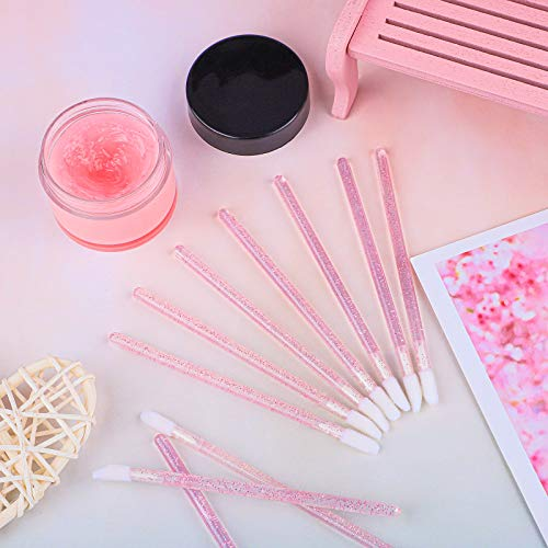 Elcoho 200 Pieces Glitter Crystal Lip Brush Disposable Lip Brushes Lip Gloss Applicators with Plastic Round Box Makeup Tool Kits (Pink)