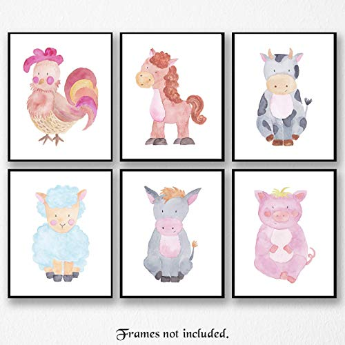 Baby Barnyard Farm Animals Pictures - Set of 6 Poster Prints - Unframed 8x10 Wall Art for Home, Nursery or Playroom - Rooster, Horse, Cow, Lamb, Donkey, Pig - Great Wall Art Decor Gift
