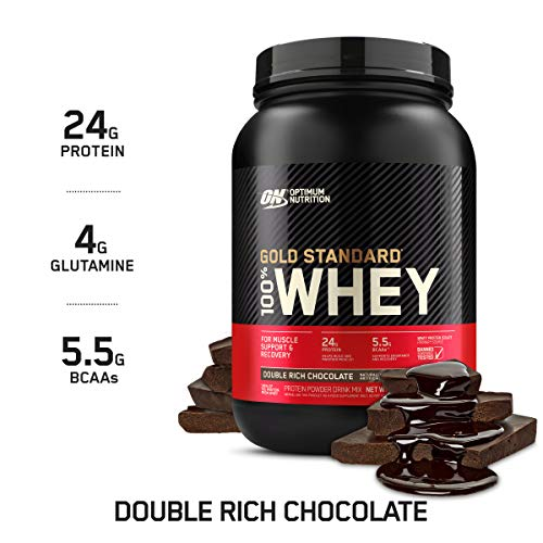 OPTIMUM NUTRITION GOLD STANDARD 100% Whey Protein Powder, Double Rich Chocolate 2 Pound (Packaging May Vary) (Soy Or Almond Milk For Weight Loss)