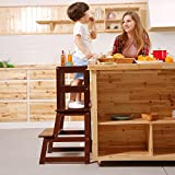 UNICOO- Kids Step Stool, Kids Learning Stool, Children Kitchen Step Stool, with Safety Rail-Solid Wood Construction. Perfect for Toddlers (Espresso-01)