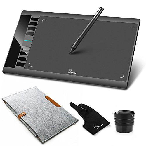 Parblo A610 Graphic Drawing Tablet with 2048 Levels Pressure Pen, Carry Bag, Drawing Tablet Glove, 10