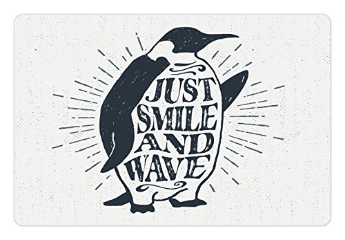 Ambesonne Quote Pet Mats for Food and Water, Penguin Waving His Flipper and Just Smile and Wave Text in The Belly, Rectangle Non-Slip Rubber Mat for Dogs and Cats, Dark ()