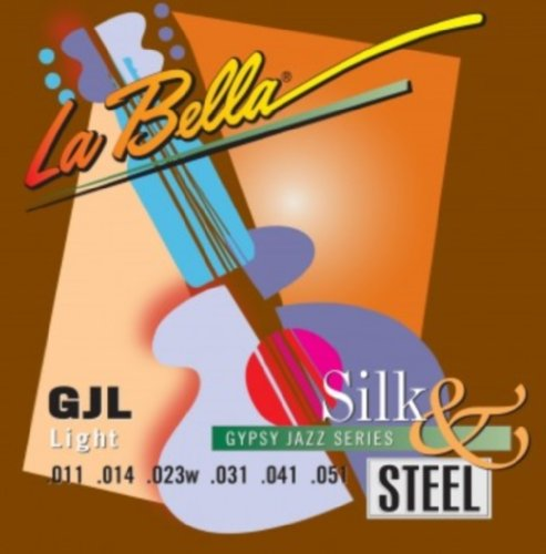 LaBella GJL-BE Gypsy Jazz Silk & Steel Acoustic Guitar Strings, (Light Jazz Swing)