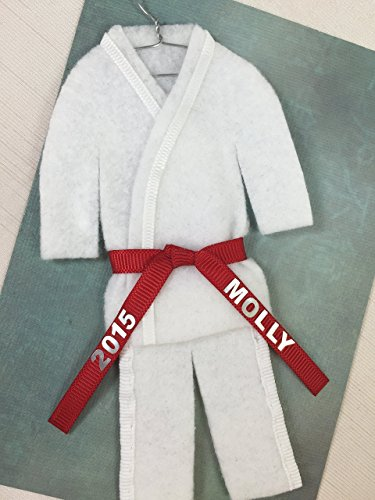 - Christmas Ornament Uniform Martial Arts -PERSONALIZED- CHOOSE BELT COLOR - Karate Taekwondo Judo Jiujitsu Bando Aikido