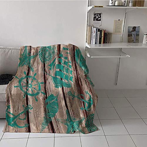 Minnesota Vikings Khaki - Khaki home Children's Blanket Summer Warm Blanket (60 by 70 Inch,Nautical Maritime,Wood Planks Pirate Ship Helm Wheel Seashells Sea Star Anchor and Soft Colors,Brown and Teal