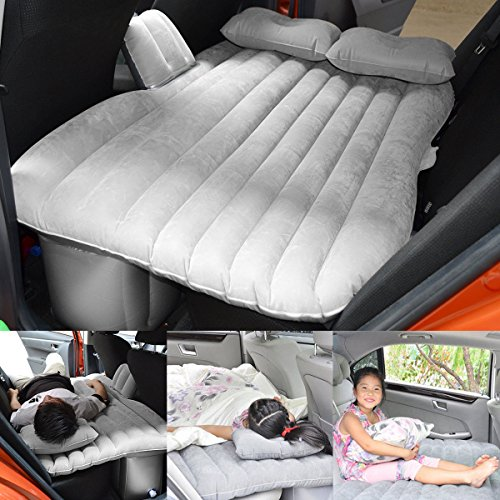 FLY5D Inflatable Car Mobile Cushion Seat Sleep Rest Mattress Air Bed Outdoor Sofa Mat Car Air Mattress Travel Bed Gray with Gear