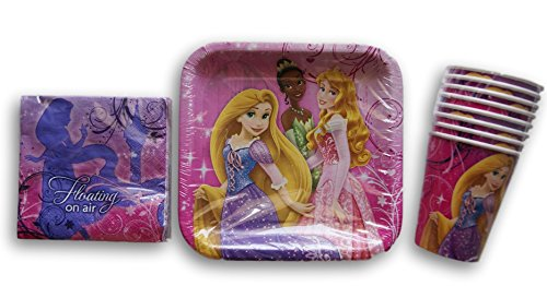 Disney Princess Tangled Rapunzel and Friends Birthday Party Set - Plates, Napkins, (7' Square Dessert Plates)