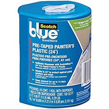 ScotchBlue Pre-taped Painters Plastic, Unfolds to 24-Inches by 30-Yard - PTD2093EL-24