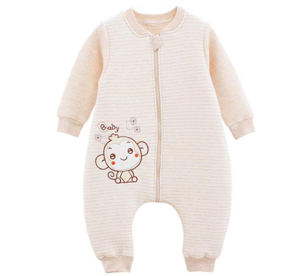 QUUPY Cotton Giraffe Style Baby Soft Cotton Sleeping Bag Long Sleeve Wearbale Blanket with Separate Legs Detachable Sleeves for Kids by QUUPY