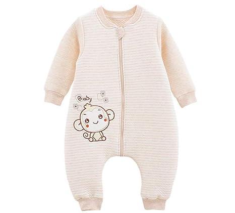 Bebé suave algodón saco de dormir manga larga Wearbale manta con patas separadas mangas desmontables marrón