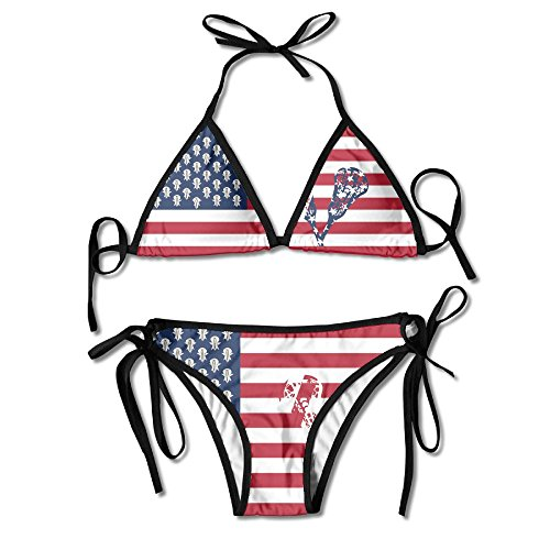 Ladies Novelty Bikini Bathing Suit USA Lacrosse Sticks (Cup Banded Halter)